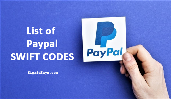 Paypal Philippine Bank Codes or Philippine Bank Swift Codes for Paypal