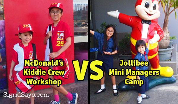 McDonalds Kiddie Crew Workshop and Jollibee Mini Managers Camp