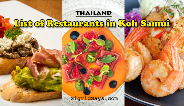 list of koh samui restaurants - thailand - Bacolod blogger - travel blogger - southeastAsia -seafoodi