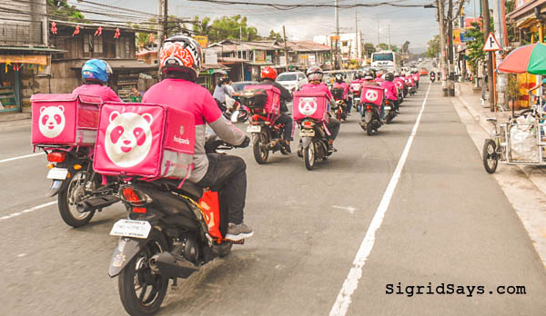 foodpanda riders on motorbikes- Global Soup Kitchen - Taal volcano eruption - food delivery service - relief