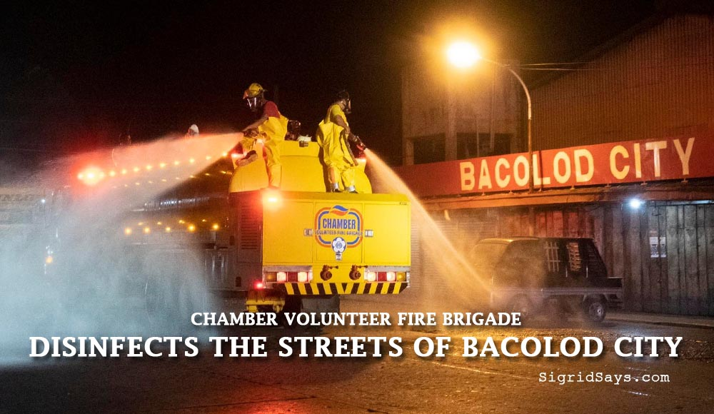 chamber volunteer fire brigade disinfects streets of bacolod city - patrol -covid-19 - firemen - zonrox in firetrucks - spraying the streets - Bacolod City streets