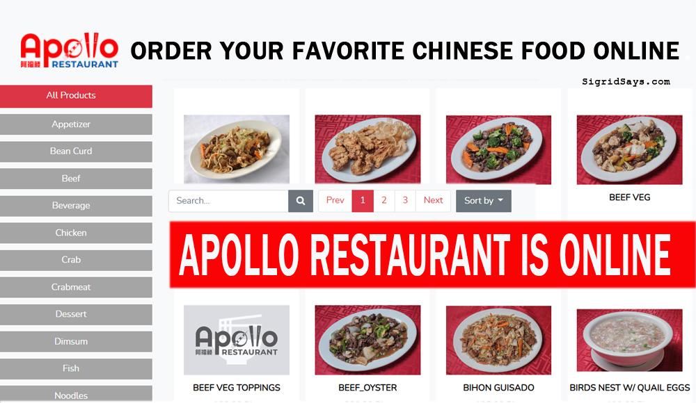 Apollo Restaurant Online - Apollo Restaurant website - Bacolod restaurant - Chinese food - food orders online