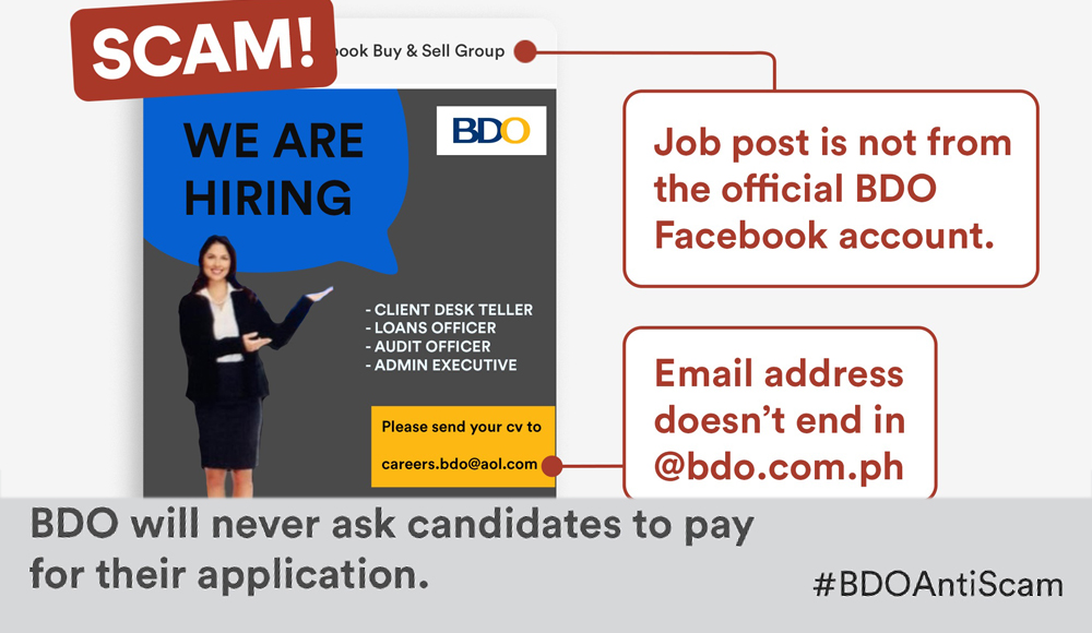 "BDO to job seekers: ""Beware of recruitment scams!"""